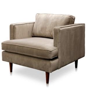 PERKINS CHAIR- MOCHA | Shetland Mocha Fabric on Hardwood Frame