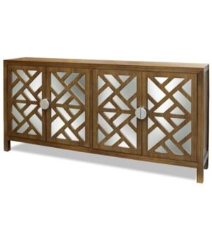 GRANTHAM SIDEBOARD  | Walnut Finish on Hardwood with Plain Finish Beveled Mirror | 4 Door