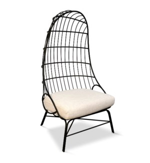 HULL CHAIR | Linen Fabric on Black Finish on Metal Frame