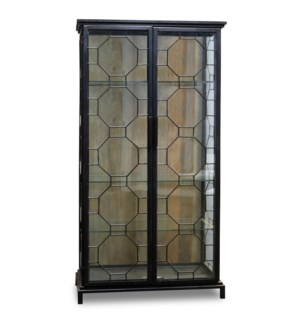 READING CABINET | Black Finish on Metal Frame with Clear Glass | 2 Door