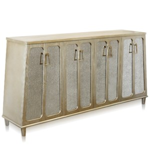 BARNES SIDEBOARD | Charcoal Champagne Finish on Hardwood with Antique Mirror | 4 Door