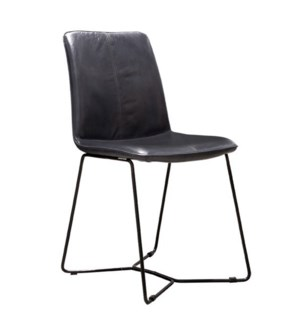 Tyler Dining Chair | Black Leather on Metal Frame