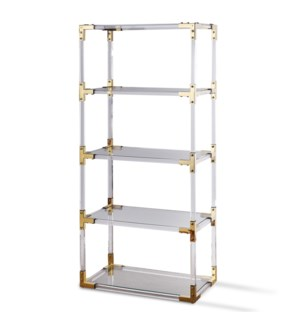 RANI BOOKCASE | Acrylic and Clear Glass with Brass Finish on Metal