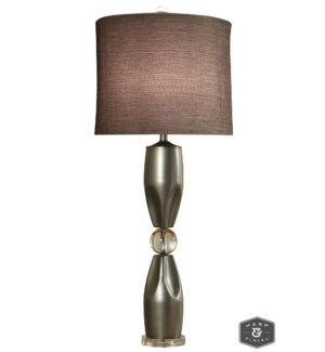 GENOA TABLE LAMP | Brushed Steel Finish on Metal Body with Crystal Ball and Base | Hardback Shade |
