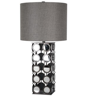 HYATT TABLE LAMP | Plain Mirror and Gunmetal Finish on Linked Disk Body | Hardback Shade | 150 Watt