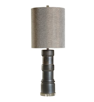 SULLIVAN TABLE LAMP | Charcoal Finish on Ceramic Body with Crystal Base | Hardback Shade | 100 Watt