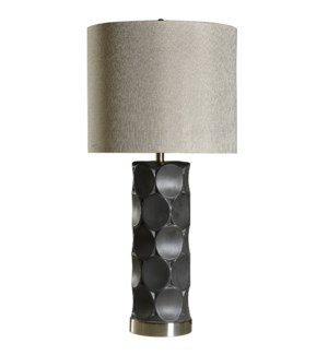 RUTHERFORD TABLE LAMP | Charcoal Finish on Ceramic Body with Metal Base | Hardback Shade | 150 Watt