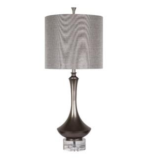 ARLINGTON TABLE LAMP | Charcoal Finish on Metal Body with Crystal Base | Hardback Shade | 150 Watt |