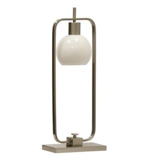 CROSBY TABLE LAMP- NICKEL | Brushed Nickel Finish on Metal Body | Opal Glass Shade | 25 Watt