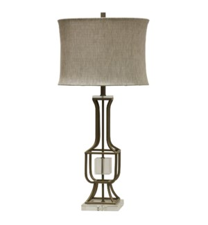 CALAIS TABLE LAMP | Tin and Gold Finish on Metal Body with Crystal Cube and Base | Softback Shade |