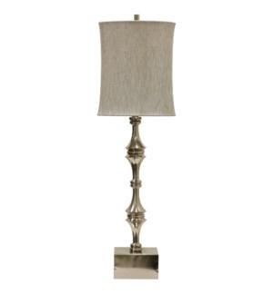 ESSEX TABLE LAMP | Brushed Nickel Finish on Metal Body | Softback Shade | 150 Watt | 3-Way Socket