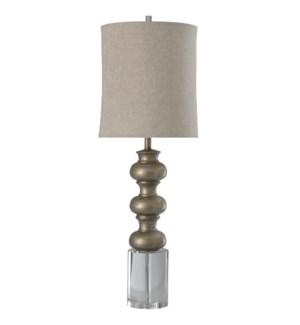LOXLEY TABLE LAMP | Antique Silver Finish on Resin with Crystal Base | Softback Shade | 100 Watt | 3
