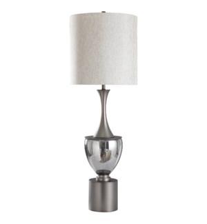 WARD TABLE LAMP | Smoke Finished Glass with Pewter Finish on Metal Base | Hardback Shade | 150 Watt