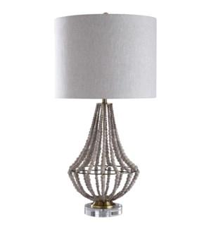 AURORA TABLE LAMP | Natural Wood Bead Body with Metal Base | Hardback Shade | 150 Watt