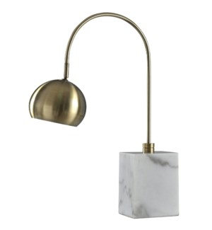 WOOLSEY TABLE LAMP | Antique Brass Body with Marble Base | Metal Shade | 40 Watt