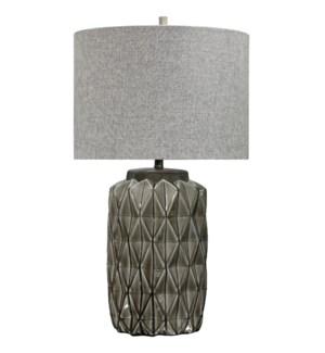 ALTON TABLE LAMP | Gray Finish on Ceramic Body | Hardback Shade | 150 Watt