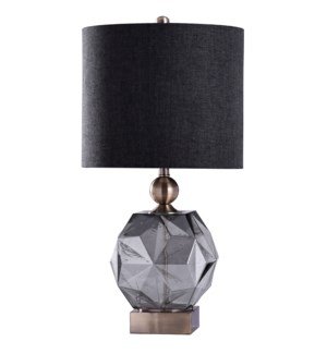 RICHMOND TABLE LAMP - Smoke Finish on Glass Body with Brass Finish on Metal Body | Hardback Shade