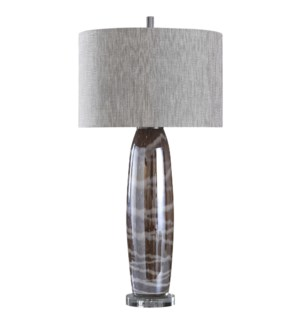 LANSING TABLE LAMP | Charcoal Reverse Painted Glass Body with Crystal Base | Hardback Shade | 150 Wa