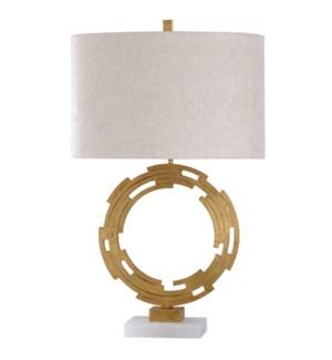 ARMITAGE TABLE LAMP | Gold Finish on Metal Body with Crystal Base | Hardback Shade | 100 Watt | 3-wa