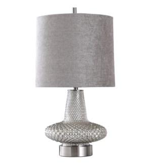 WELLS TABLE LAMP | Mercury Glass Body with Steel Base | Hardback Shade | 150 Watt | 3-way Socket