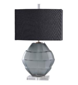 ASTOR TABLE LAMP | Charcoal Glass Body with Crystal Base | Hardback Shade | 100 Watt