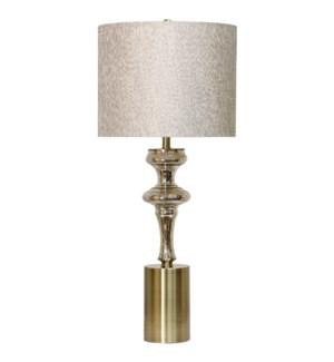 MONTCLAIR TABLE LAMP | Mercury Glass Body with Metal Base | Hardback Shade | 150 Watt