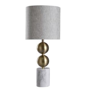 RACINE TABLE LAMP | Brass Finish on Metal Body with Marble Base | Hardback Shade | 100 Watt