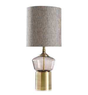 GORDON TABLE LAMP | Gray Finish on Glass Body with Brass Finish on Metal Base | Hardback Shade | 100
