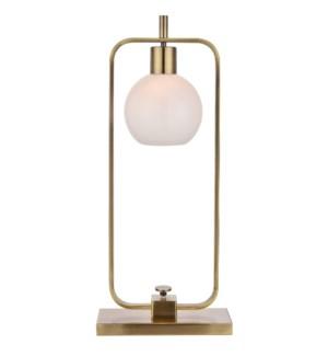 CROSBY TABLE LAMP- BRASS | Antique Brass Finish on Metal Body | Opal Glass Shade | 25 Watt