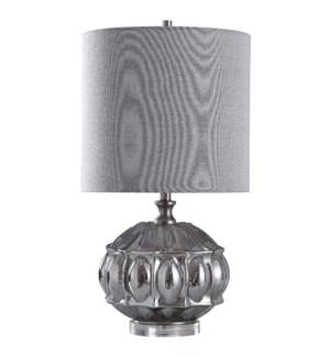HARVEY TABLE LAMP | Chrome Finish on Glass Body with Crystal Base | Hardback Shade | 150 Watt