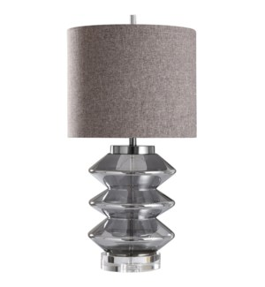 PATTON TABLE LAMP | Charcoal Finish on Glass Body with Metal Base | Hardback Shade | 150 Watt