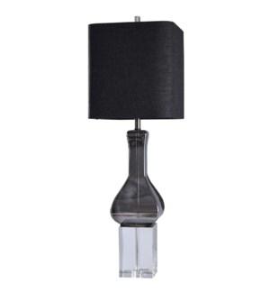 HAMILTON TABLE LAMP | Smoke Finish on Glass Body with Crystal Base | Hardback Shade | 100 Watt