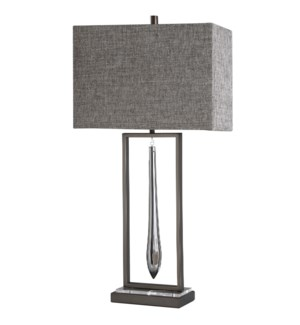 CALLAHAN TABLE LAMP | Brushed Nickel Finish on Metal Body with Clear Crystal Drop and Metal Base | H