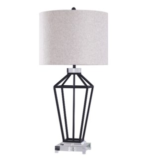 WINDSOR TABLE LAMP | Painted Black Finish on Metal Body with Crystal Top and Base | Hardback Shade