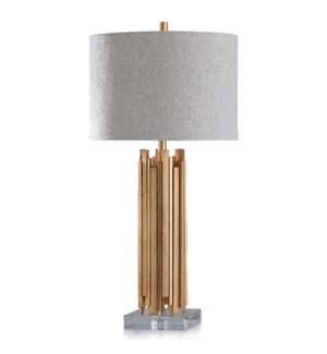 VENETIAN TABLE LAMP | Gold Finish on Metal Body with Crystal Base | Hardback Shade | 150 Watt