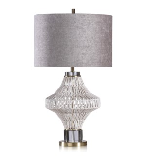 CHARLOTTE TABLE LAMP | Natural Finish on Rope Body with Gold Finish on Metal and Crystal Base | Hard