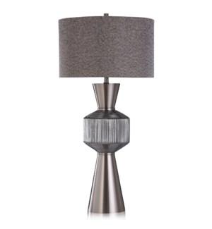 KARLA TABLE LAMP | Steel Finish on Metal and Glass Body | Hardback Shade | 150 Watt