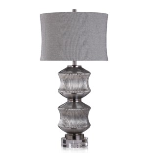 DARBY TABLE LAMP | Smoke Finish on Glass Body with Crystal Base | Softback Shade | 150 Watt