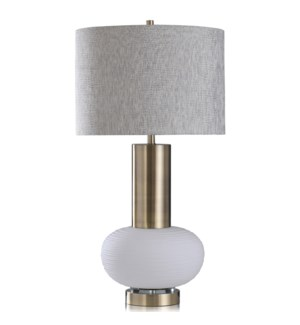 PALMER TABLE LAMP | White Finish on Glass Body with Gold Finish on Metal and Crystal Base | Hardback