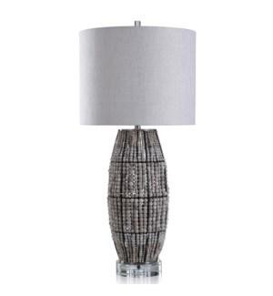 BRIAR TABLE LAMP | Natural Finish Wood Bead Body with Crystal Base | Hardback Shade