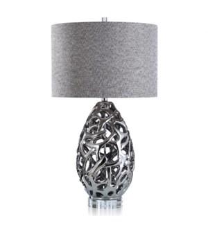 CALDONIA TABLE LAMP | Silver Finish on Ceramic Body with Crystal Base | Hardback Shade