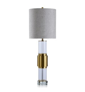 WHITLAM TABLE LAMP | Brass Finish on Metal and Crystal Body | Hardback Shade