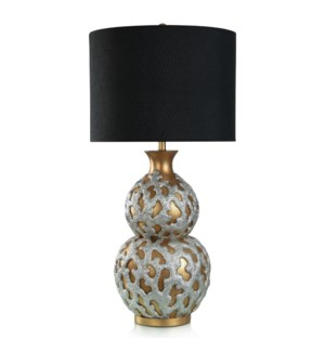 REEF TABLE LAMP | Gold and Silver Finish on Resin Body | Hardback Shade