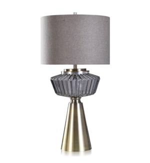 GRIFFEN TABLE LAMP | Charcoal Finish on Glass with Brass Metal Base | Hardback Shade