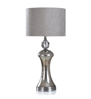 EASON TABLE LAMP | Silver Finish on Glass Body with Metal Base | Hardback Shade