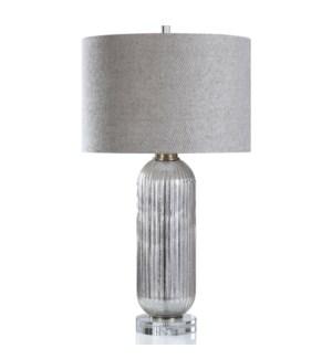 SAWYER TABLE LAMP | Mercury Finish on Glass Body with Crystal Base | Hardback Shade