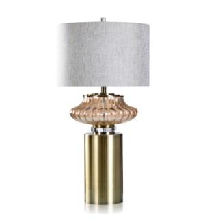 HEPBURN TABLE LAMP | Gold Finish on Glass with Brass Metal Base | Hardback Shade