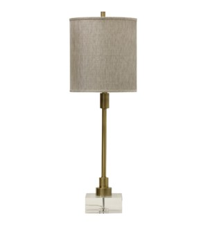 LENOX TABLE LAMP | Antique Brass Finish on Metal Body with Crystal Base | Hardback Shade | 150 Watt