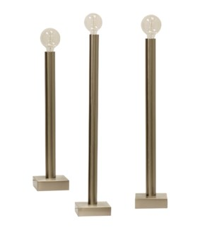 BARCLAY NICKEL TABLE LAMP- SET OF 3 | Brushed Nickel Finish on Metal Body | 60 Watt