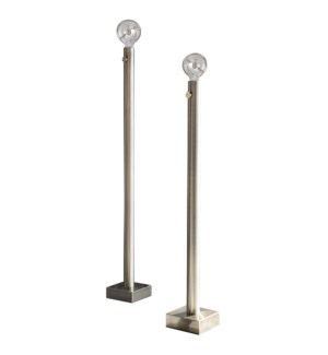 BARCLAY NICKEL FLOOR LAMP- SET OF 2 | Brushed Nickel Finish on Metal Body | 60 Watt